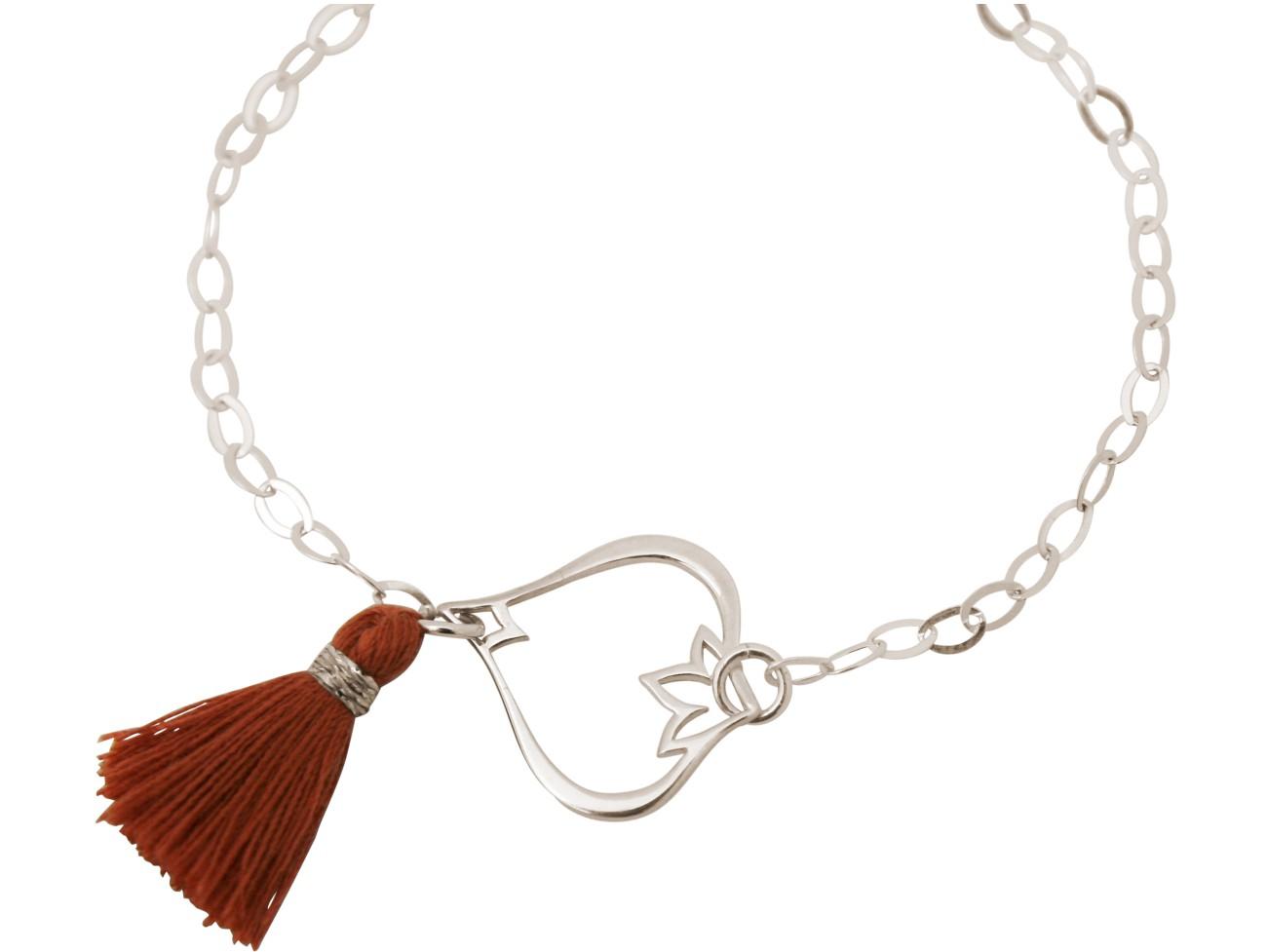 Armband 925 Silber Lotus Blume QuasteRotbraun YOGA