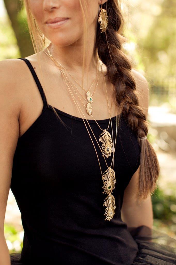 Halskette kleine Pfauen Gold