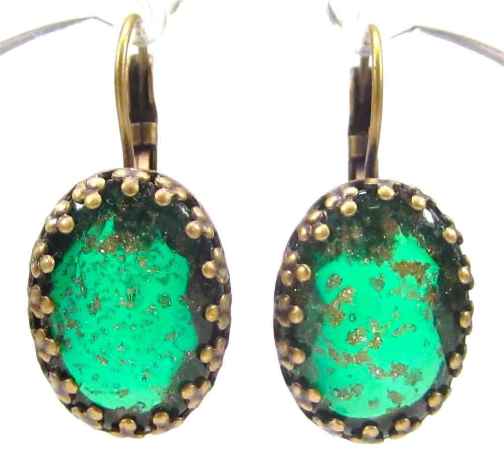 Ohrhänger antik glas grün gold