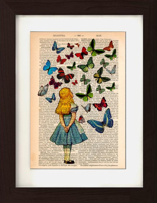Alice beobachtet Schmetterlinge auf den 1830er ...
