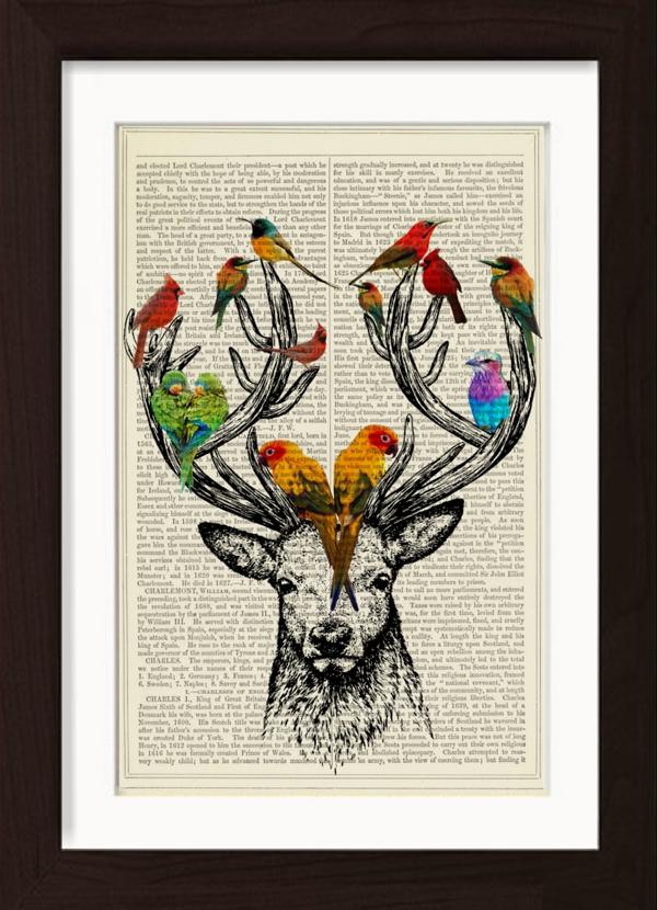 Hirsch und Vögel drucken auf der englischen Enz...