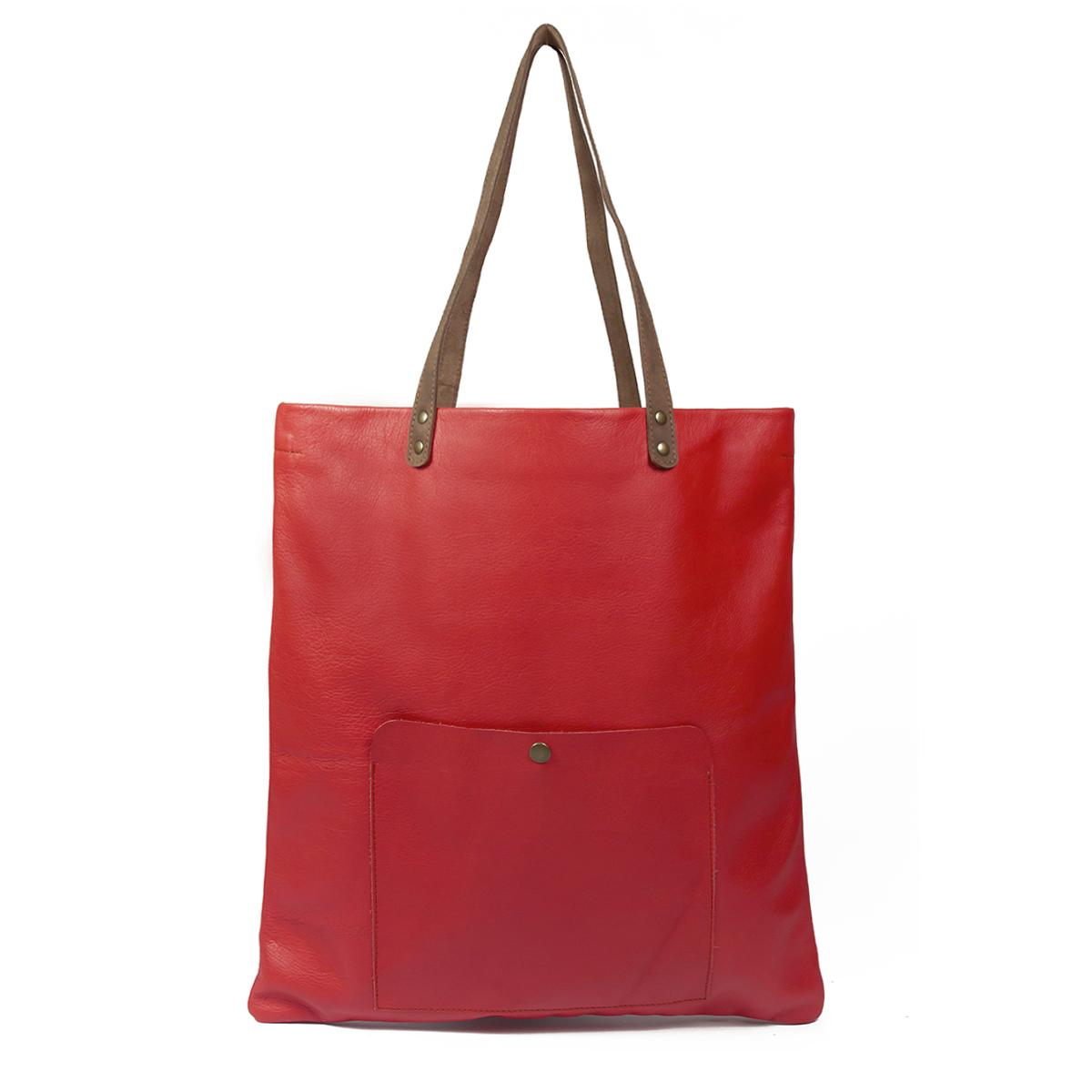 Leather Shopping Bag - Bufalo73-Red