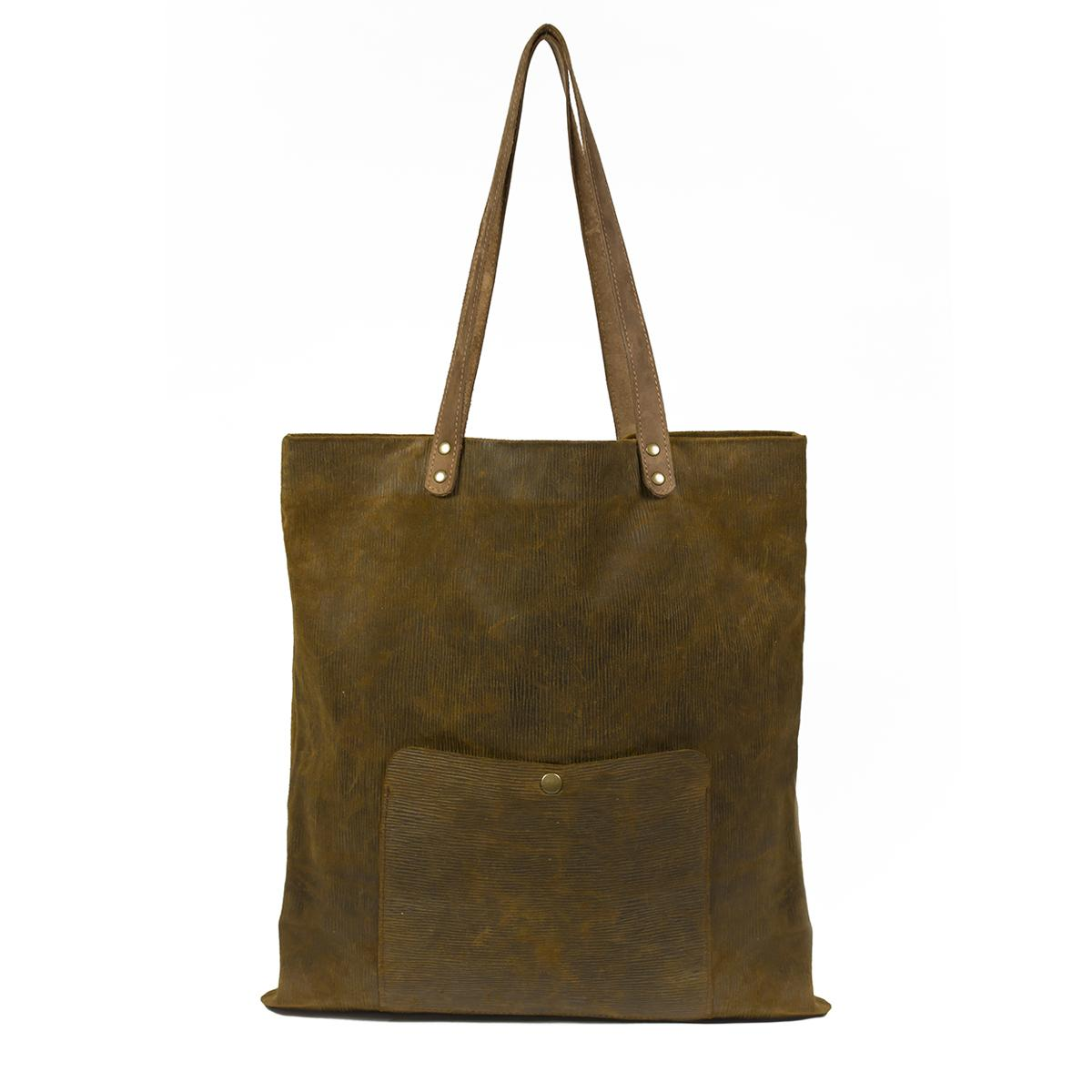 Leather Shopping Bag - Bufalo73-Brown