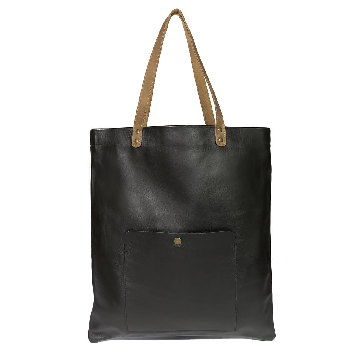 Leather Shopping Bag - Bufalo73-Black