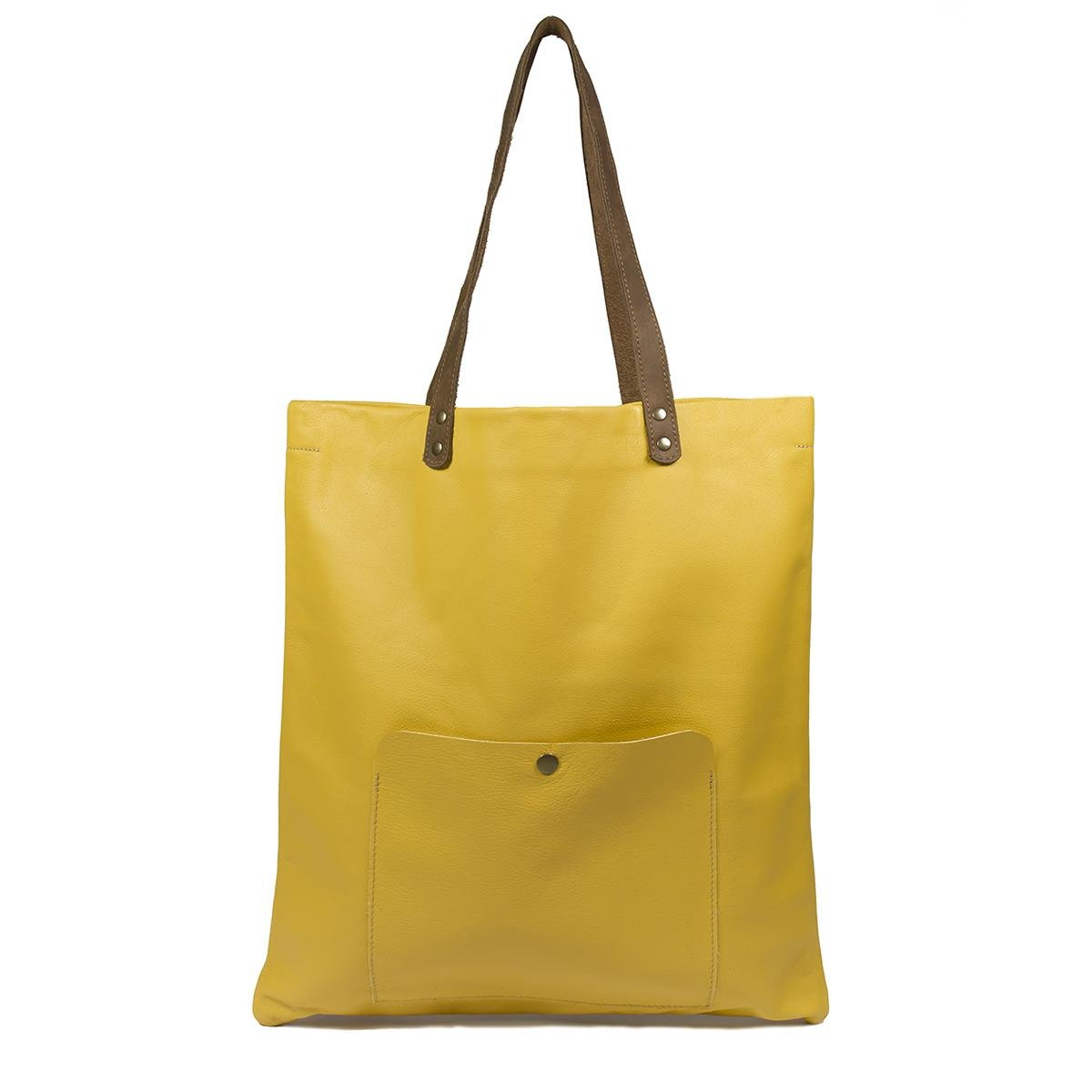 Leather Shopping Bag - Bufalo73-Yellow