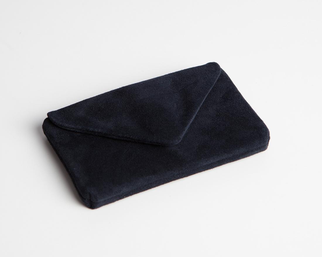 Leatcher Smartphone Clutch Velours-Dark blue