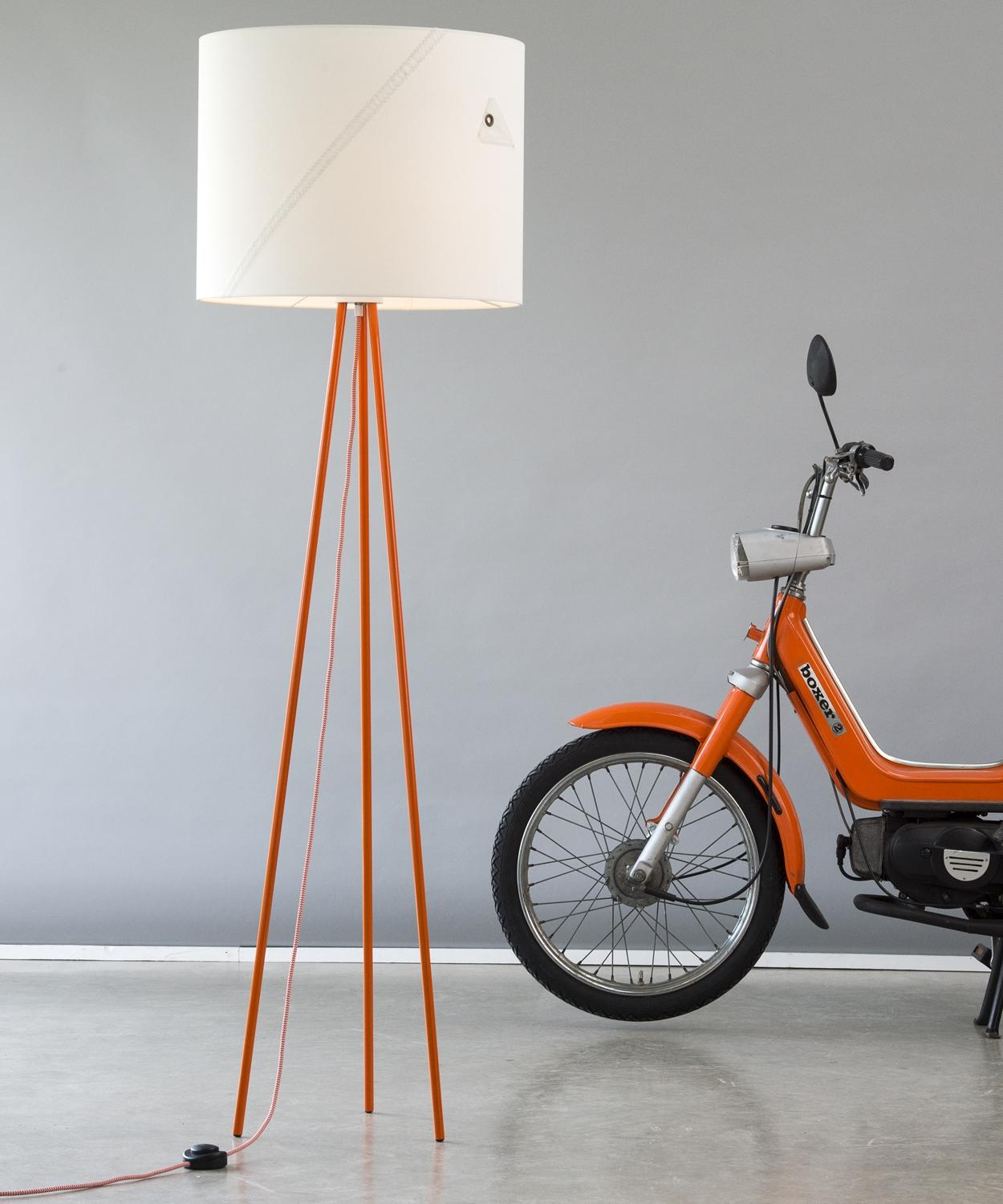 Floor Lamp Tripod Traditionsschiff 130cm Orange From Sail With Textile  Cable By Lumbono