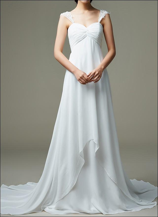 Empire Brautkleid mit Träger und Wasserfall Rock