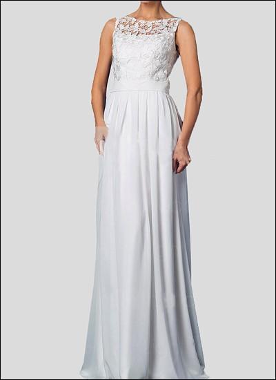 Spitzen-Brautkleid mit Trägern und Chiffon Rock