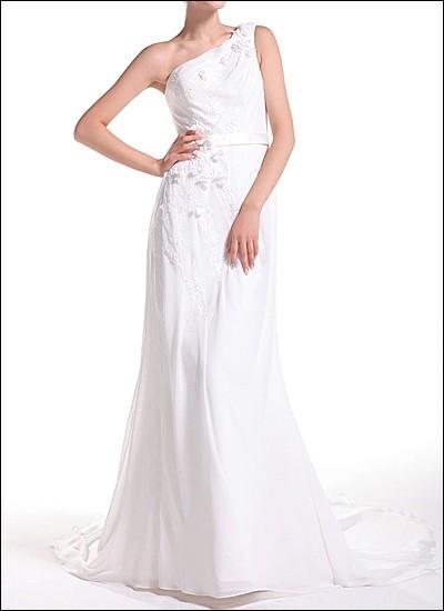 One-Shoulder Brautkleid im Griechischen Stil